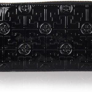 Tory Burch black patent leather logo zip wallet